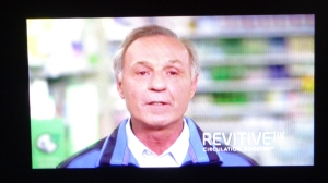 Revitive: This poor gray (literally and figuratively) man is Canadian Hockey Hall of Fame legend, Guy Lafleur, spokesperson for the Revitive Circulation Booster. He is not the best example of the effects of the machine, judging by appearances. The make-up guys should've put some base, blusher or bronzer on him before they shot this commercial. Let's not mention the heavy French accent which makes him barely comprehensible.