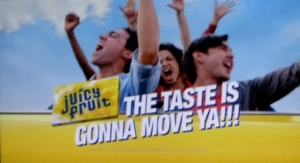 Juicy Fruit: Sometimes a good idea is just badly executed. In this Juicy Fruit ad, the people who chew it are stuck on a roller-coaster and the taste, as the tagline says, gets them moving. The problem is that the guys who sing the jingle are a bit tone-deaf. Around the 3rd line, the girl singing it changes key. And then the guy singing the 4th line changes key again. As the judges would say in American Idol, You're a bit pitchy, people. In the end all I'm thinking is how flipping irritating that is.