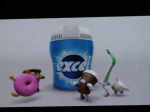 """Wrigley's Excel gum """"Excellerate your breath"""": I know I must be on the side of the gum-chewing guy, but these little bad breath characters are so sweet, every time they get chased away by the gum I feel sorry for them."""