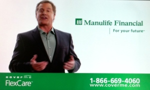 Cuurently, this is the ad that will cause me to put the sound on mute. Manulife Financial's ads are beige Nonentities, so politically correct and obviously pitched to be inoffensive it's painful. This guy is neither fish nor fowl - he wears a formal jacket with an informal shirt and uses these practiced hand-gestures like an old-fashioned demagogue. In the other version of the ad, two women, one white, one black (so correct) talk about how lovely the insurance is, in a way that no human would ever, ever talk about insurance. But subtly, they keep repeating: Get the insurance, WHILE you still can, BEFORE you get sick, BEFORE you die! Over and over and over…Yuck.