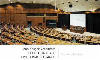 First slide of definitive presentation of Leon Krüger's architectural portfolio