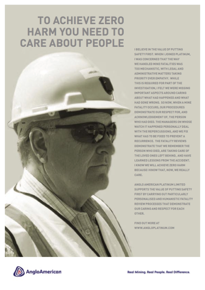 Advertisement for internal campaign: Advertisement for internal safety campaign featuring the CEO, Neville Nicolau
