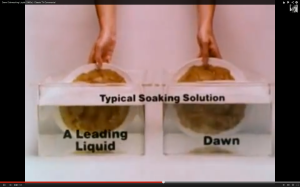 "Seems like Dawn likes comparative advertising. This look-alike ad is from the 1960s, "" The better grease getter."" You can see it on Youtube. Ah, those were the days of brown/beige outfits, long point collars and frizzy hair, and Bad Advertising Science."