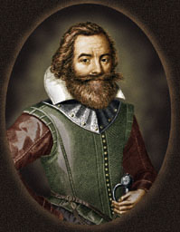 "Captain John Smith, from a 1616 portrait, top of the search results for ""John Smith"" on Google."