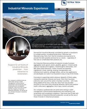 Cover of a brochure/cut-sheet on Engineering services for industrial minerals producers, one of a series focusing on metals and minerals.