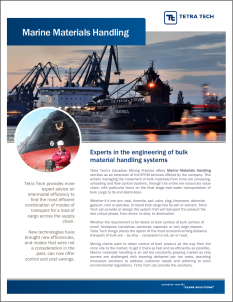 One page of a standard style cut-sheet/brochure on services and track record, in this instance on Marine Logistics