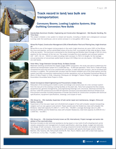 P. 2 of standard style cut-sheet/brochure on services and track record, in this instance on Marine Logistics.