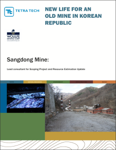 Cover of in-depth project case study, in this instance a Scoping Study and Resource Estimation update for Sangdong Mine in South Korea.