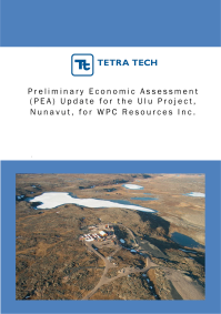 Cover of a successful proposal for Preliminary Economic Assessment Update services for WPC Resources.