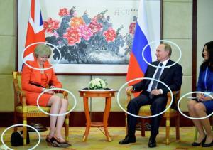 Russian President Vladimir Putin (right) meets with Britain's Prime Minister Theresa May during the G20 summit in Hangzhou, China, on September 4.