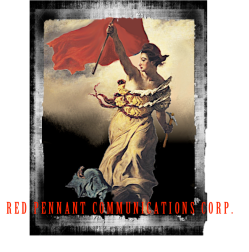 "Another version of the logo, for book productions, using the famous image of ""Liberty Leading the People"", a painting by Eugène Delacroix commemorating the July Revolution of 1830. Again, there is link with France and the red flag, or pennant."