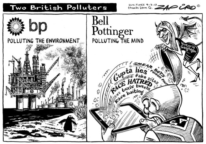 Two British Polluters. More of Zapiro's magic available at www.zapiro.com. http://j.mp/2wyMiJ6 via @biznewscom