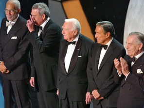 CBS News broadcasters commemorate CBS's 75th anniversary, broadcast live from the Hammerstein Ballroom at New York's Manhattan Center on November 2, 2003. From left, Ed Bradley, Dan Rather, Walter Cronkite, Mike Wallace and Morley Safer. (CREDIT: CBS)