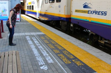 "Pay-off line: ""Stand behind the yellow line - As far back as you'd stand from the boss before their morning coffee."""