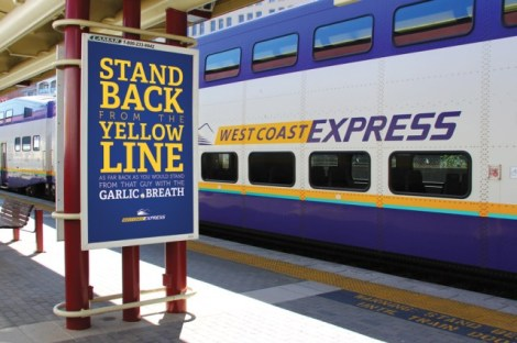 Pay-off line: 'Stand back from the yellow line - As far back as you would stand from that guy with the garlic breath.""