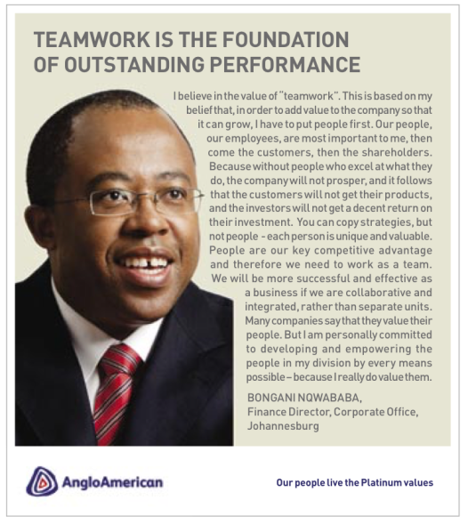 internal campaign: Advertisement for internal safety campaign featuring Bongani Nqwababa, Financial Director
