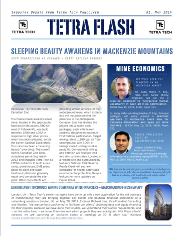Cover of Tetra Flash e-newsletter for Tetra Tech, distributed during Roundup Mining Conference in Vancouver.