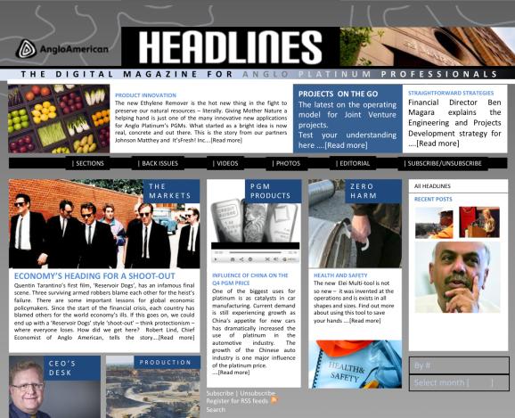 Home page of concept e-news/digital magazine for Anglo Platinum