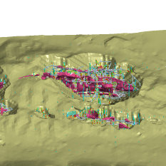 Ultimate pit topo showing historic drilling and underground stoping and development