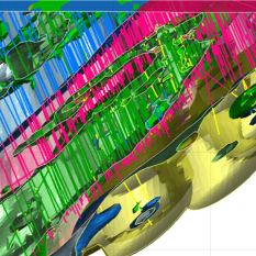Figure 4. Symmetry section of the deposit shown in Figure 3. The section is orthogonal to the axis of the large-scale isoclinal fold (shown in pink, and enclosing green unit) seen in the centre of the image, thus orthogonal to the main structural axis of this deposit.